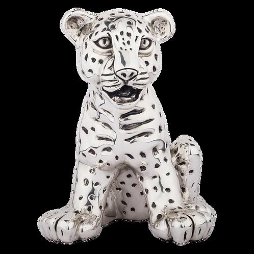 Sitting Silver Leopard Cub Statue