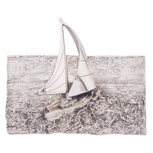Silver Sailboat Relief