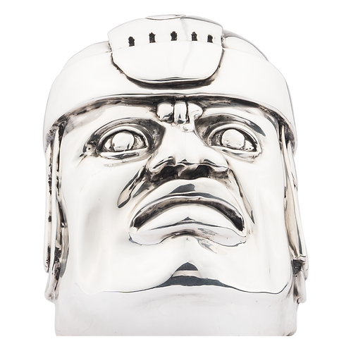 Silver Olmeca Head Statue