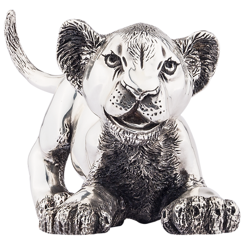 Playful Jumping Lion Cub Statue