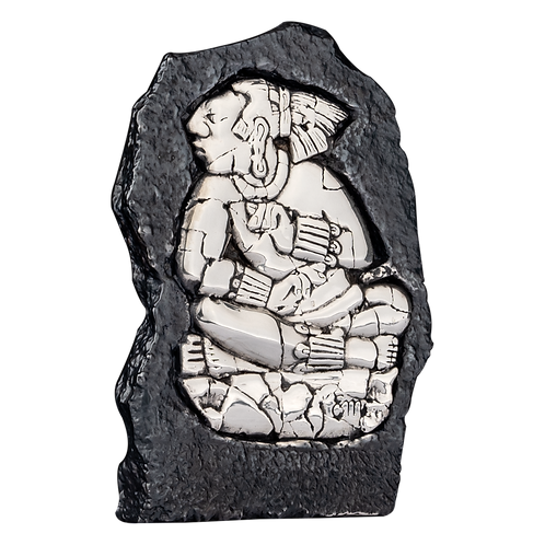 Seated Mayan King Relief Figurine