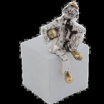 Silver Clown Statue Thinking Clown