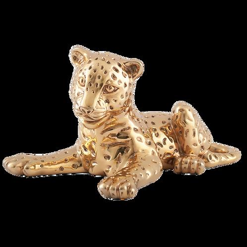 Gold Leopard Cub Statue