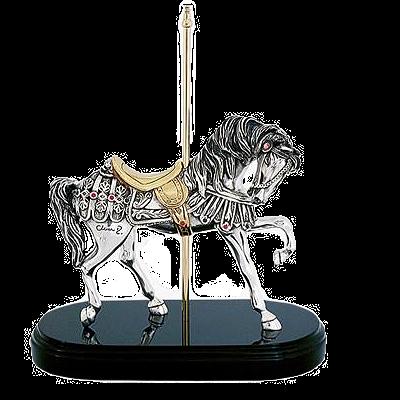 فضية كاروسيل الحصان تمثال المشي الاسباني
