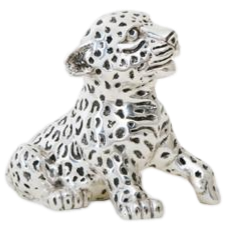 Silver Leopard Statue Sitting Cub