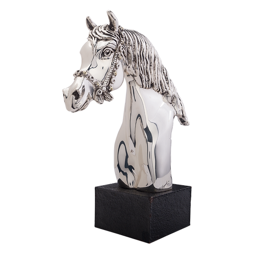 Carrousel Silver Horse Head Statue