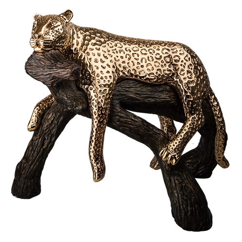 Gold Leopard Statue Calm on Branch