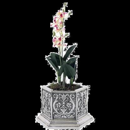 Silver Flower Pot - Reliefs Hexagonal