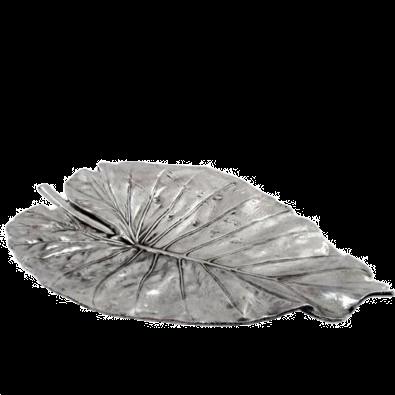 Elephant Ear Leaf Silver Fruit Bowl Large