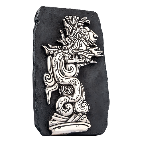 Mayan Man Serpent Silver Relief