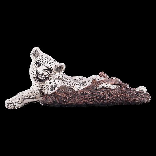 Silver Leopard Statue Cub Bitting a Branch