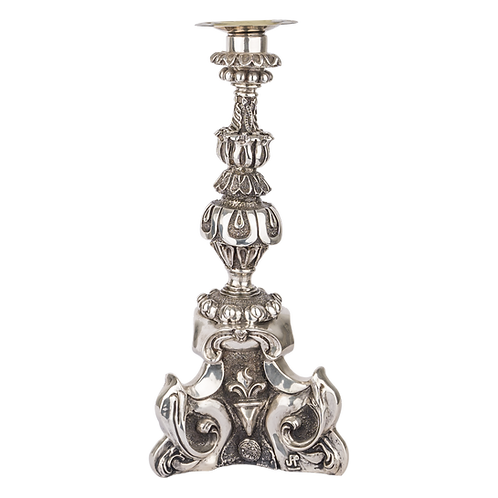 Triad Column Silver Candle Holder