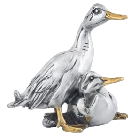 Silver Geese Statuette