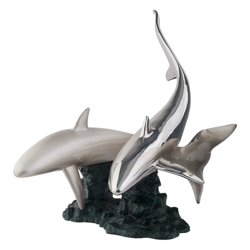 Silver Sharks Statue Swimming