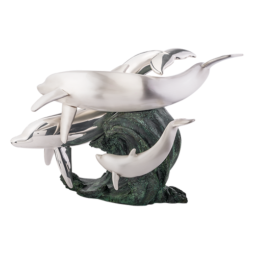 Silver Family of Dolphins Statue