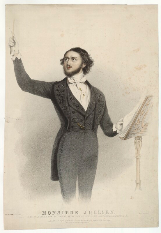 Louis Antoine Jullien by Edward Morton, printed by M & N Hanhart, published by John Mitchell, after Alfred Edward Chalon coloured lithograph, published 1840s. 20 3/8 in. x 13 7/8 in. (516 mm x 354 mm)