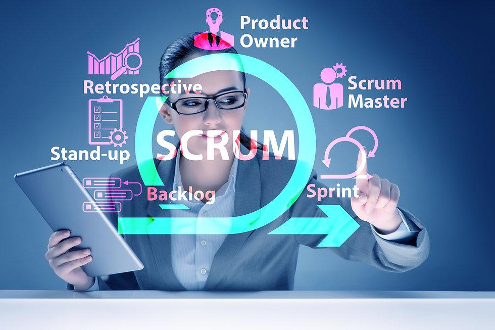 Businesswoman in SCRUM agile method conc