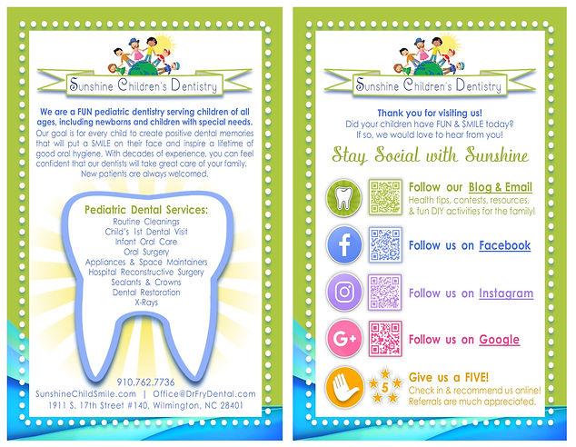 Rack Card - Sunshine Childrens Dentistry