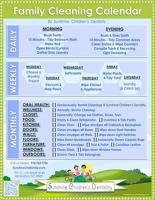 Infographic - Family's Cleaning Calendar