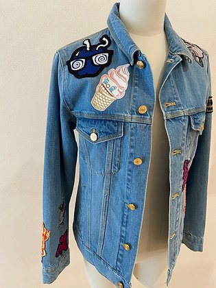 KENZO VESTE DENIM PATCH MULTI