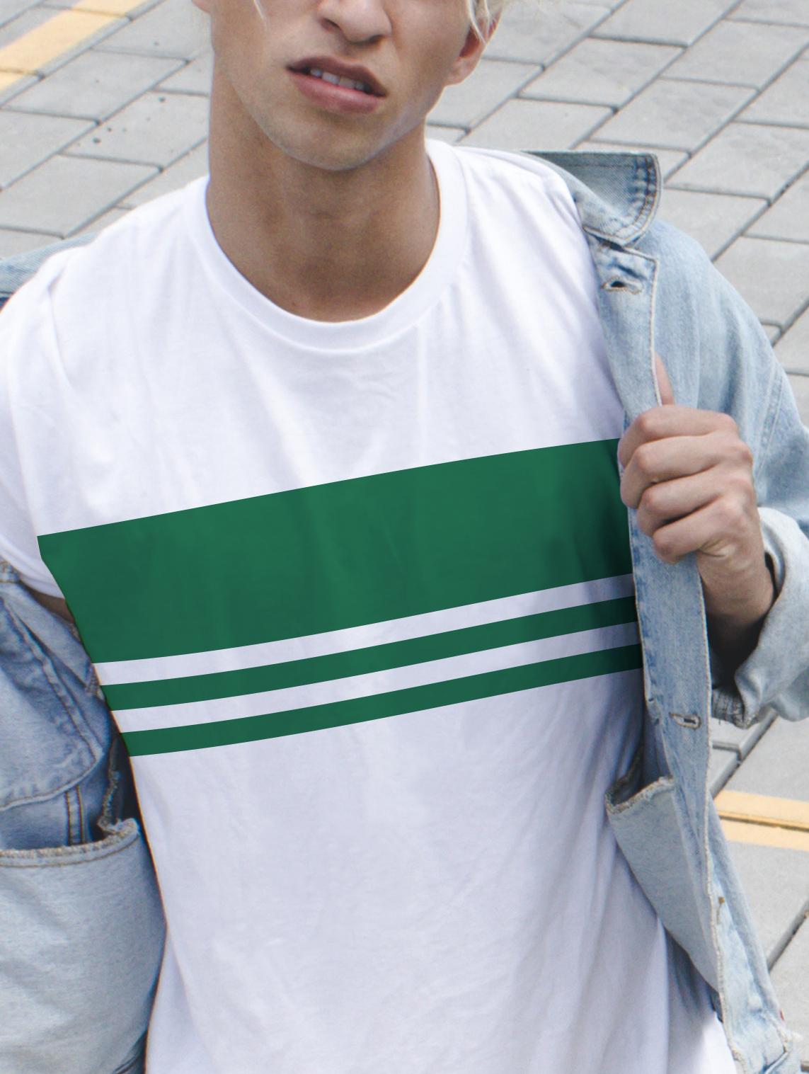 Grüne Streifen-T-Shirt