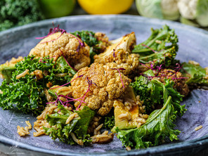 Pickled Cauliflower with Kale and Brown Rice