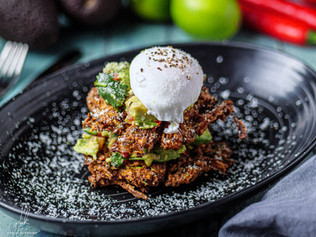 Courgette and Onion Fritters with Smashed Avocado