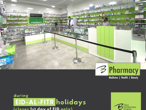 Buch Pharmacy will remain open during the Eid holidays