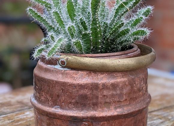 Copper barrel plant pot