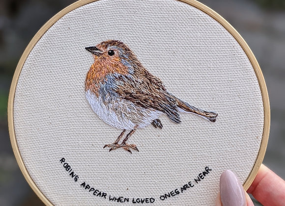 """Robin Embroidery with""""Robins appear when loved ones are near"""""""