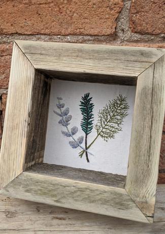 Framed-hand-embroidery-eucalyptus-fennel-dill-canvas-brick-wall.jpg