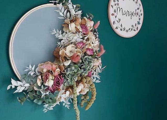 Dried-flower-hoop-art-blue-hydrangea-pink-roses-blue-wall.jpg