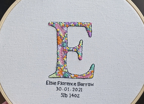 Initial Embroidery - Baby Name, DOB and weight in multicololurs