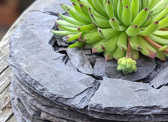 Round reclaimed slate planter