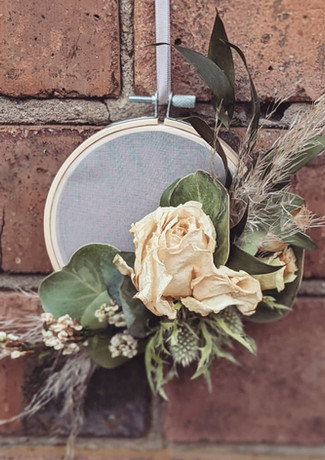 Dried-flower-embroidery-hoop-wooden-organza-preserved-flowers-ivory-green-rose-thistle-euc