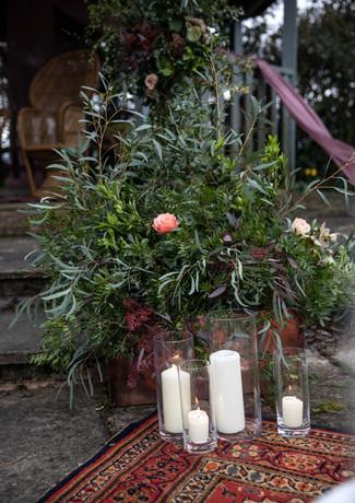 Foliage-arrangement-copper-tank-archway-