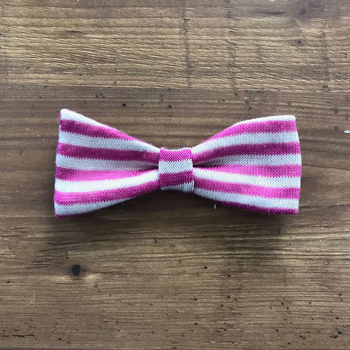 Pink and Grey Stripe Bow
