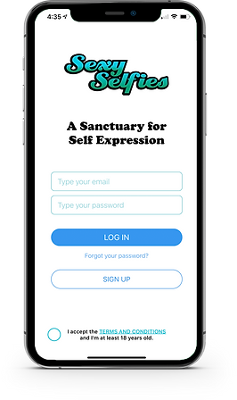 Sexy Selfies app log in screen