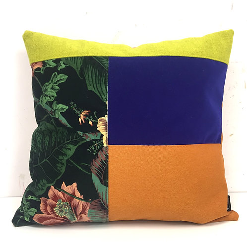Puzzelkussen - oranje/blauw/paradise