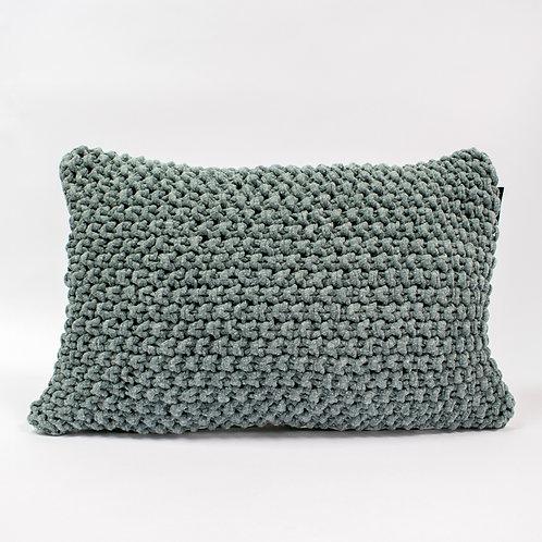 Hoookedkussen - grijs/groen