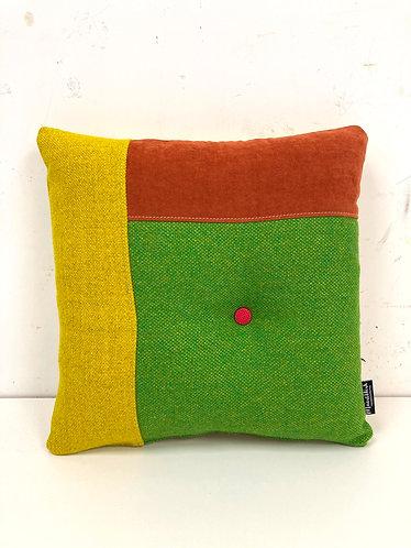 Puzzelkussen - groen/oranje/geel