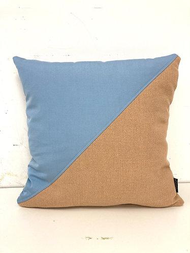 Puzzelkussen - blauw/oranje diagonaal