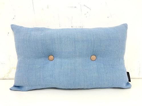 Knopenkussen - blauw/perzik