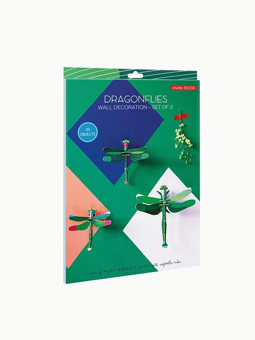 Muurdecoratie - Dragonflies set van 3