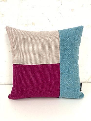 Puzzelkussen - roze/fuchsia/blauw