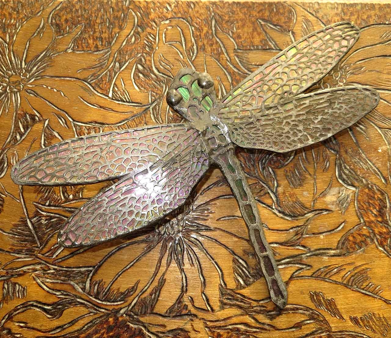 Dragon fly with brass filigree