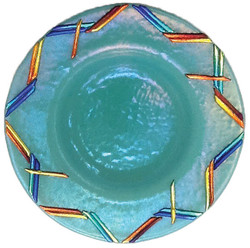 Rainbow Dicro on Turquoise Bowl