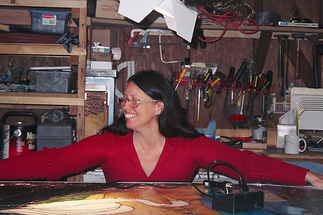 Vangie happy, loving the way the stained glass window was progressing.