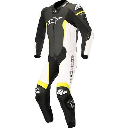 Leather Suit 1Pc Missile Tech Air Compatible black-white-yellow - ALPINESTARS
