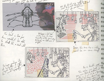 Sketchbook. jacob gamm. George and his Amazing Singing Limpets. The Circus of Curiosity and Disbelif. Thumbnails of Jenny